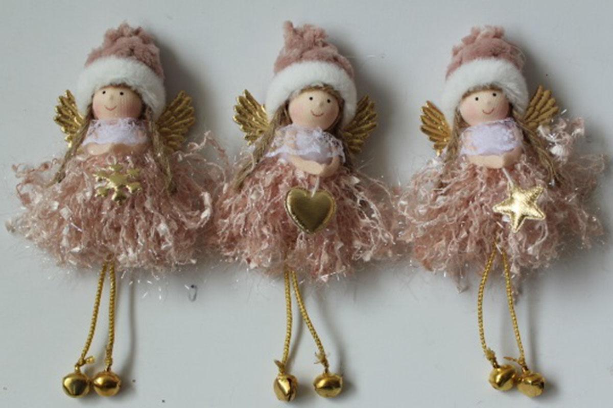 Andělka, vánoční dekorace na pověšení, barva růžová,  mix 3 druhů,  cena za 1 ks.