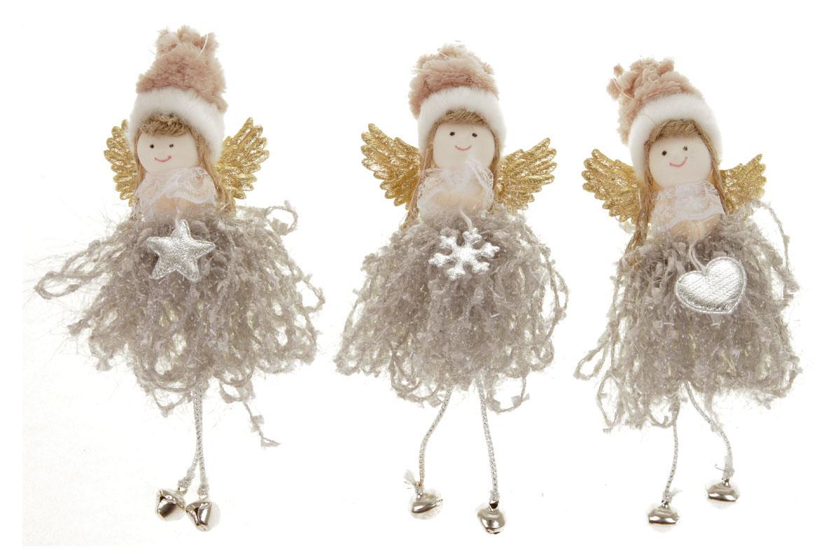 Anjelka, vianočná dekorácia na zavesenie, farba ružová, mix 3 druhov, cena za 1 ks