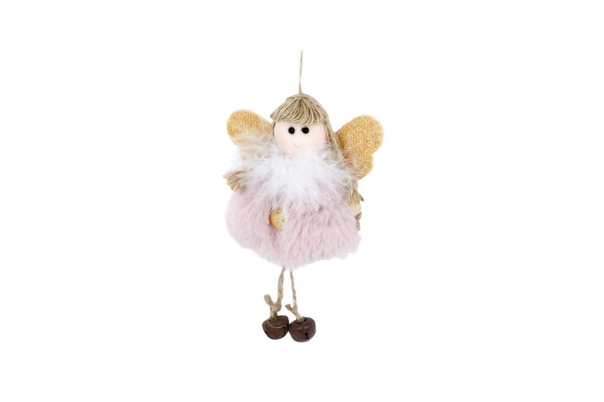 Anjelik, vianočná dekorácia na zavesenie, farba ružová, cena za 1 ks