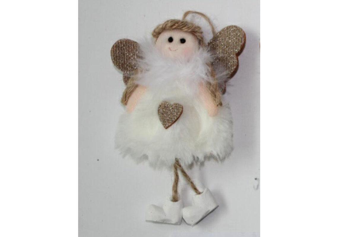 Anjelik, vianočná dekorácia na zavesenie, farba biela, cena za 1 ks