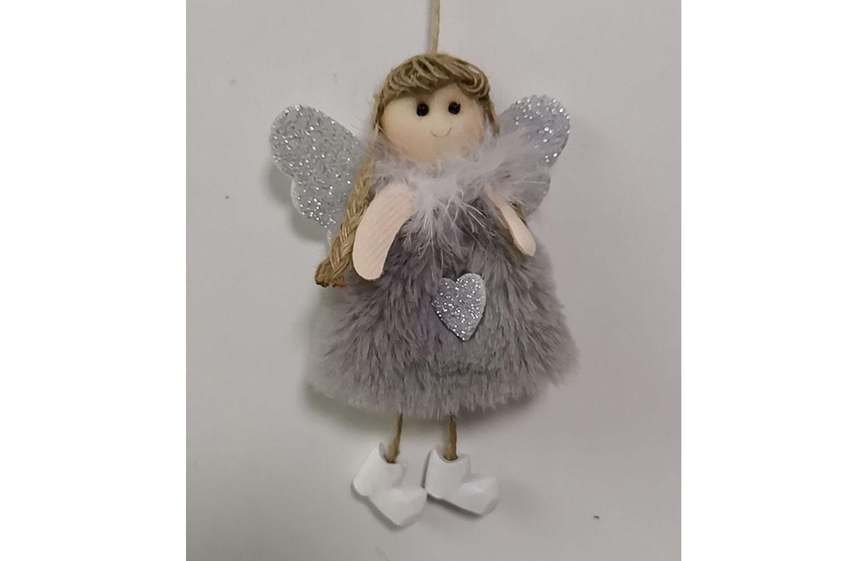 Andělka, vánoční dekorace na pověšení, barva šedo-stříbrná,  cena za 1 ks.