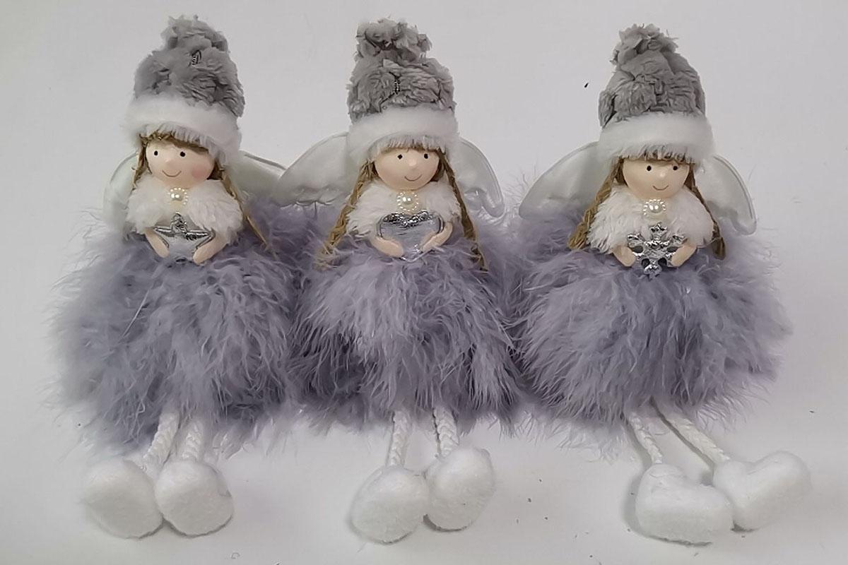 Andělka, vánoční dekorace, barva bílá, mix 3 druhů,  cena za 1 ks.