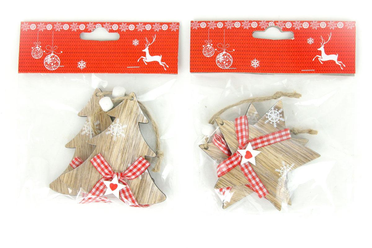 Drevená vianočné dekorácia na zavesenie, 2 kusy v sáčku, cena za 1 sáčok