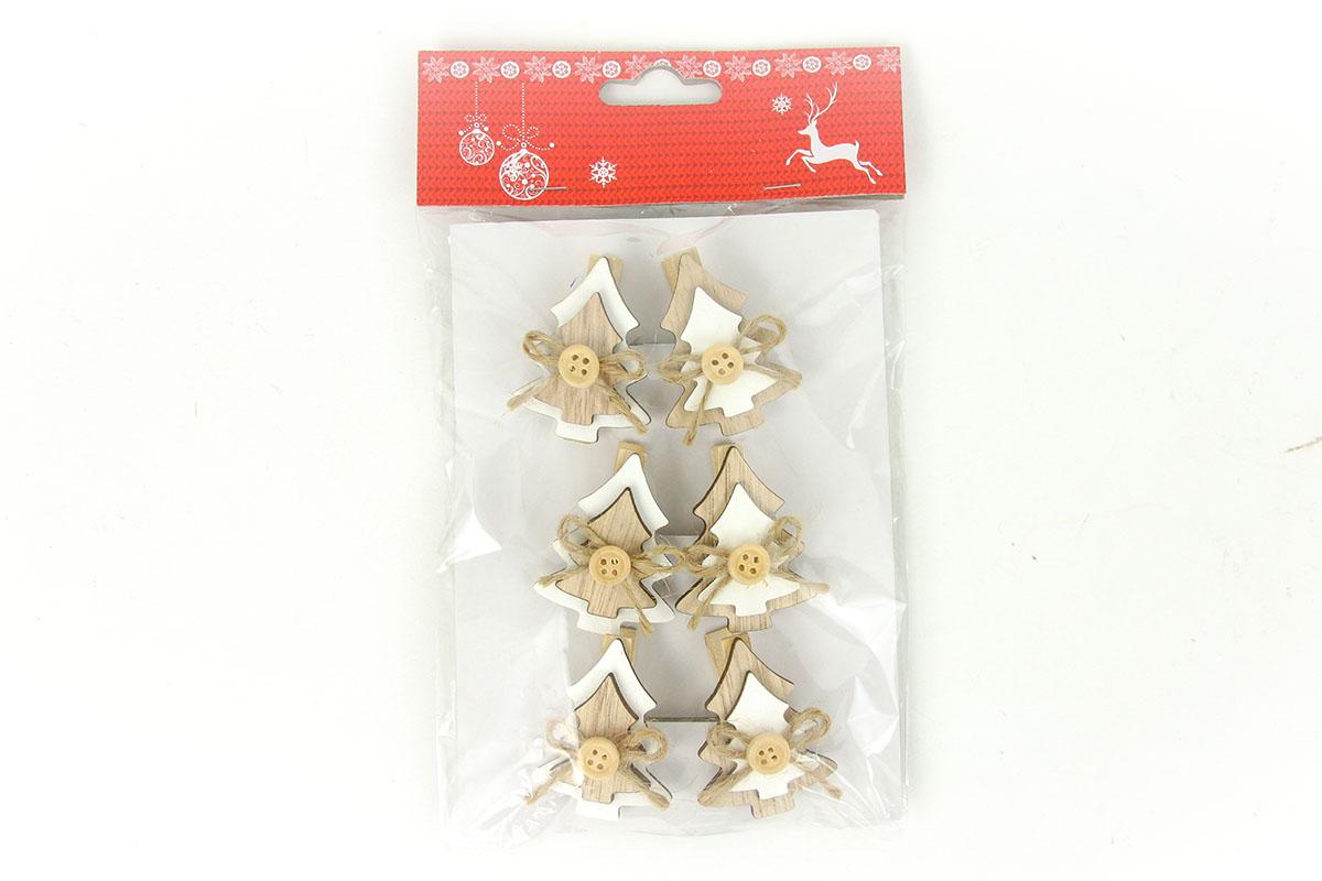 Stromeček, vánoční dřevěná dekorace na kolíčku, 6 kusů v sáčku, cena za 1 sáček