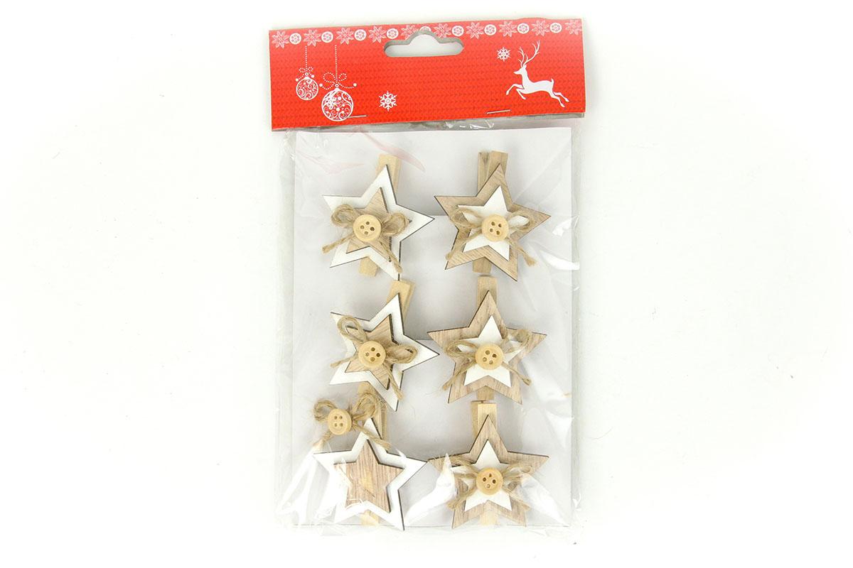 Hvězdička, vánoční dřevěná dekorace na kolíčku, 6 kusů v sáčku, cena za 1 sáček