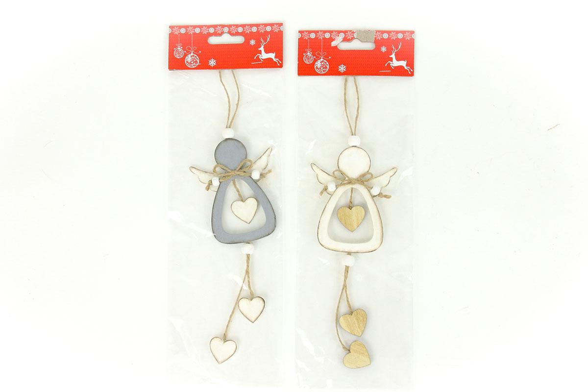 Andělíček , vánoční dřevěná dekorace na pověšení, barva bílá ,šedá,  1 kus v sáčku, cena za 1 sáček
