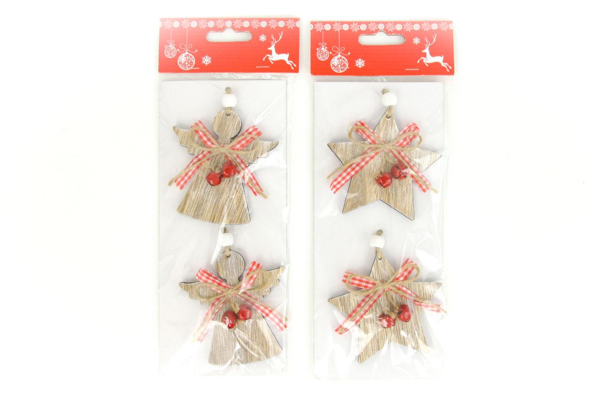 Drevená vianočná dekorácia na zavesenie, 2 kusy v sáčku, cena za 1 sáčok