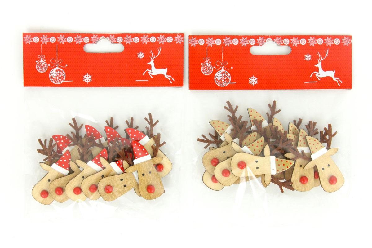 Sob, drevená vianočná dekorácia na prilepenie,  12 kusov v sáčku, cena za 1 sáčok