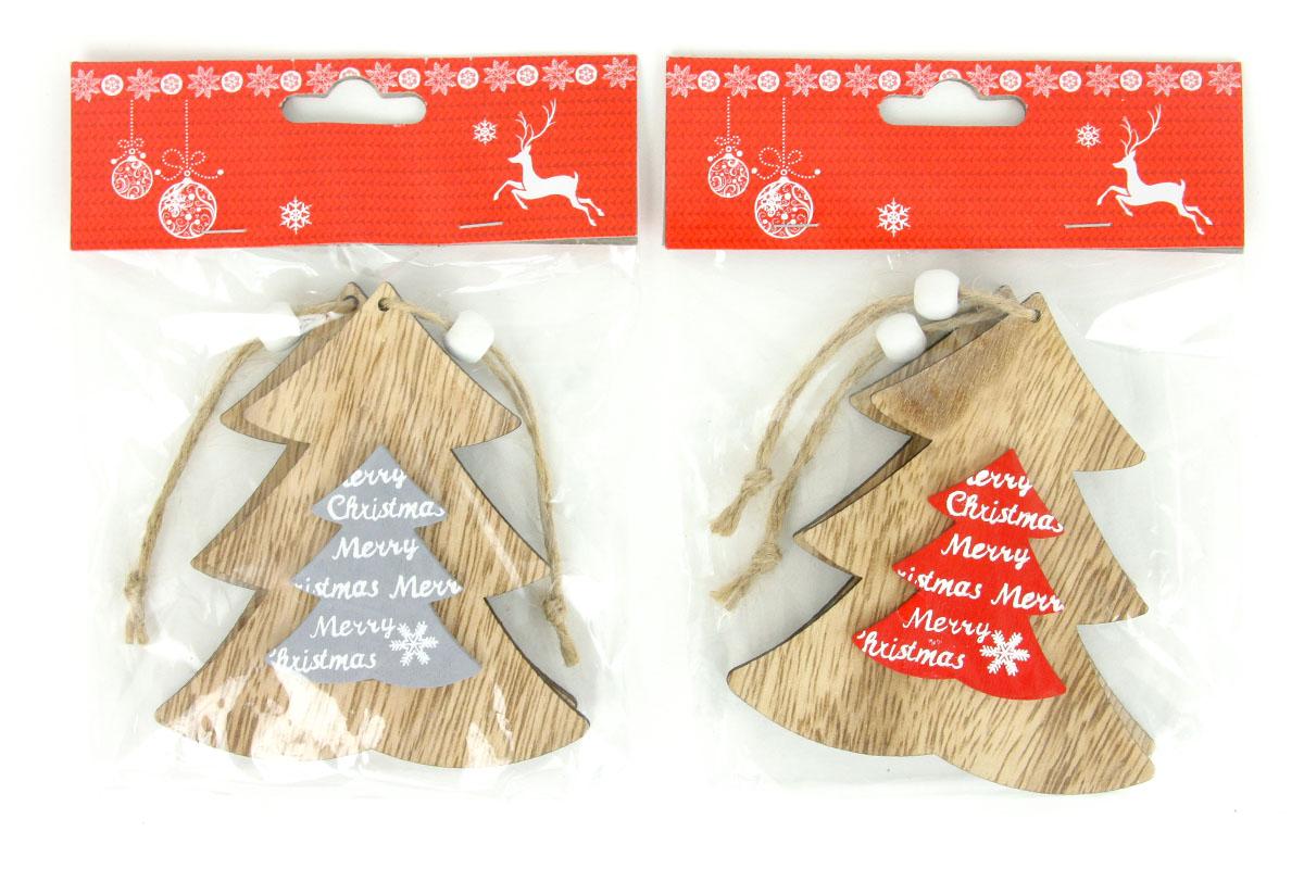 Stromček, drevená vianočná dekorácia na zavesenie, 2 kusy v sáčku, cena za 1 sáčok