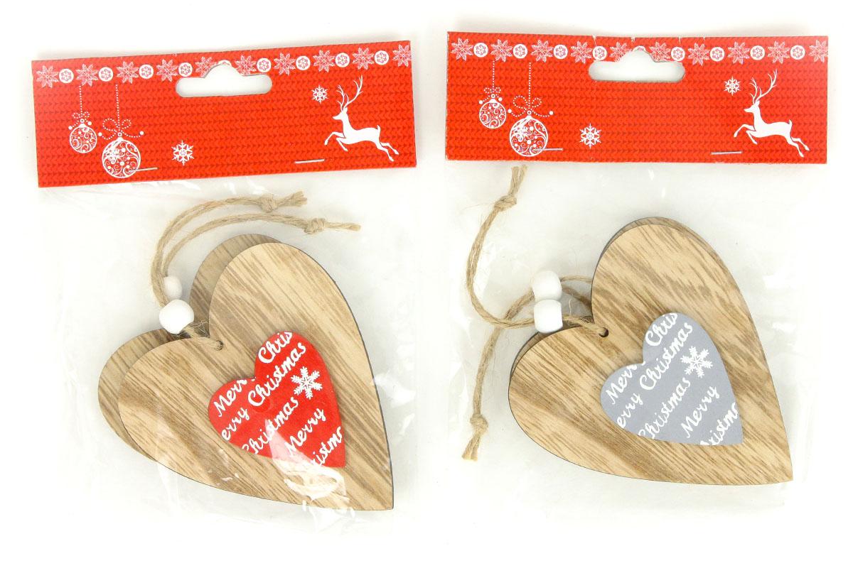 Srdiečko, drevená vianočná dekorácia na zavesenie, 2 kusy v sáčku, cena za 1 sáčok