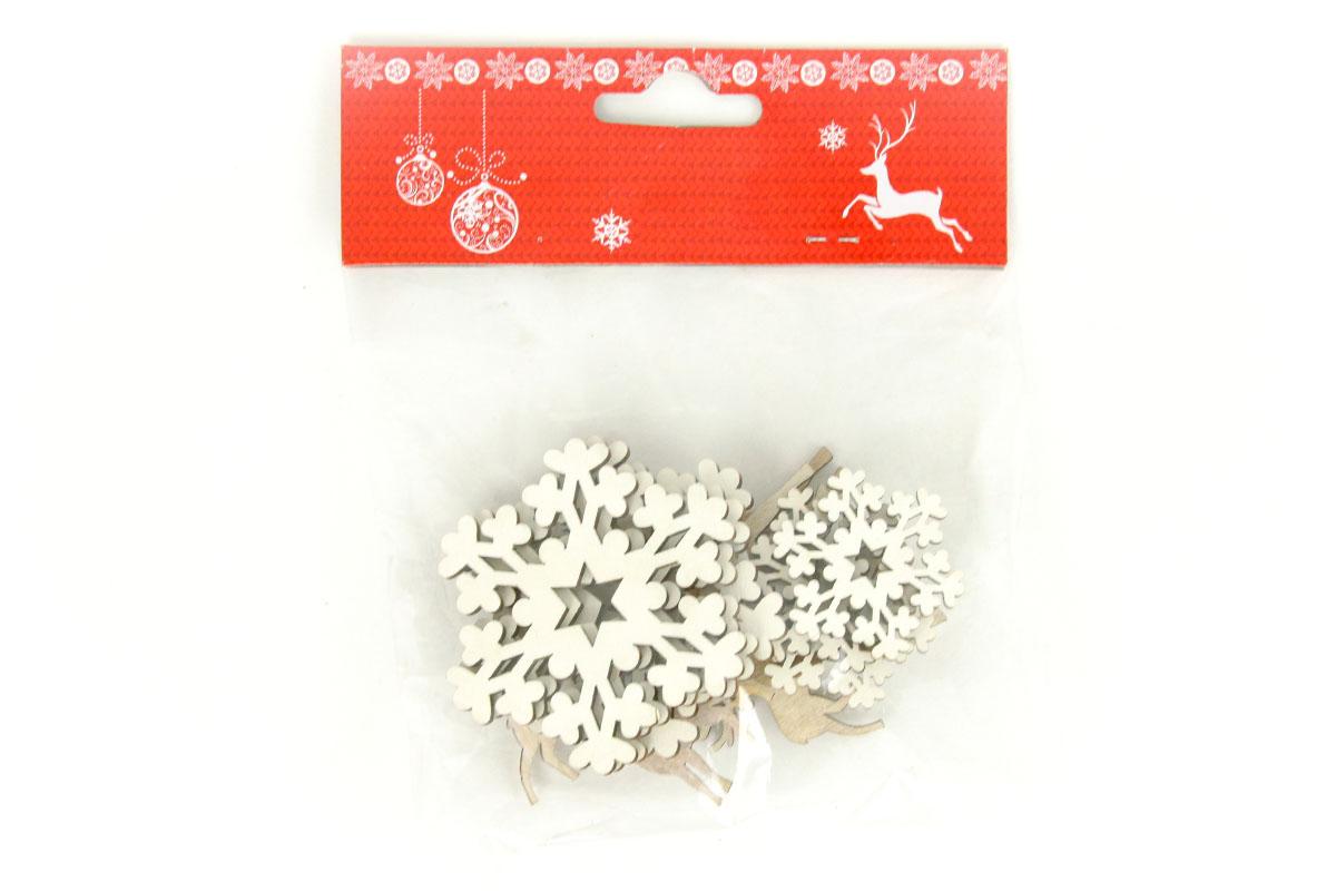 Drevená vianočná dekorácia,  mix 12 kusů v sáčku, cena za 1 sáčok