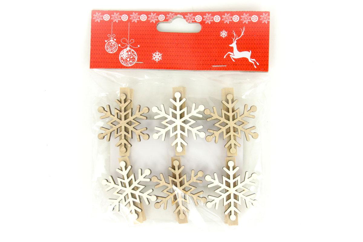 Vločka, vánoční dřevěná dekorace na kolíčku, 6 kusů v sáčku, cena za 1 sáček