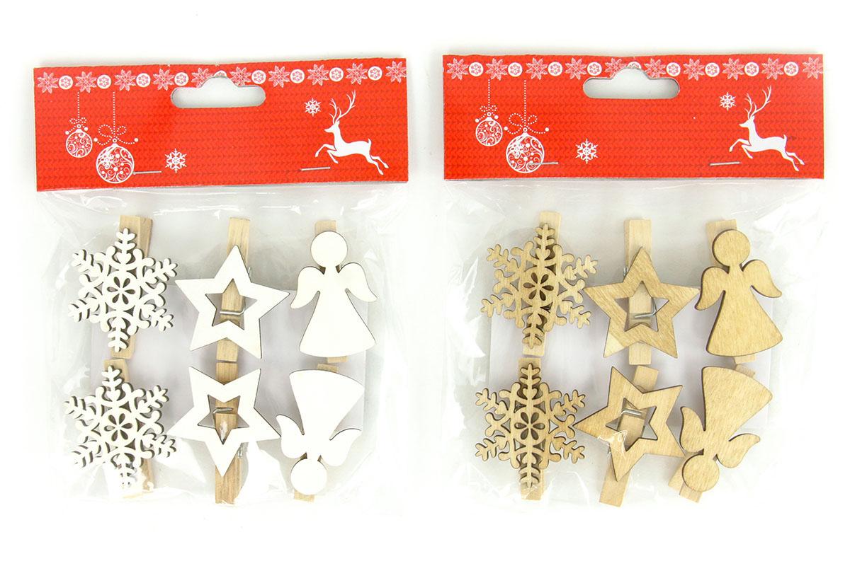 Vločka,hvězdička a andílek, vánoční dřevěná dekorace na kolíčku, 6 kusů v sáčku, cena za 1 sáček