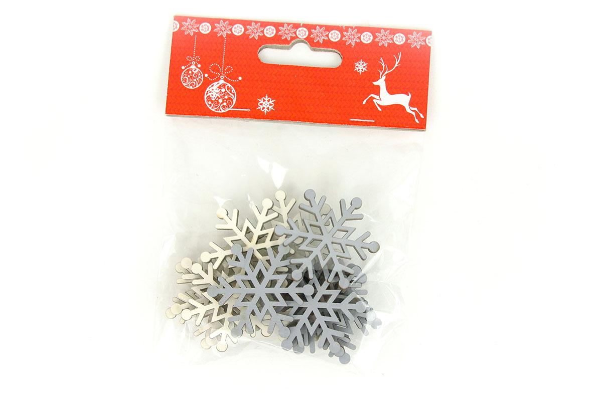 Vločka, vianočná drevená dekorácia, biela a sivá farba, 12 kusov v sáčku, cena za 1 sáčok