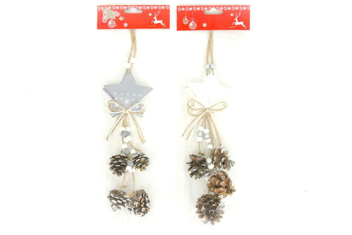 Hvězdička, vánoční dřevěná dekorace na pověšení se šikami, 2 kusy v sáčku, cena za 1 sáček