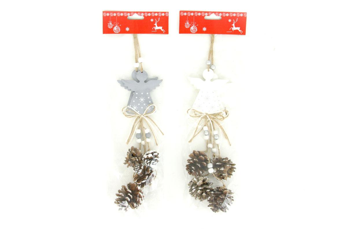 Andělíček, vánoční dřevěná dekorace na pověšení se šikami, 2 kusy v sáčku, cena za 1 sáček