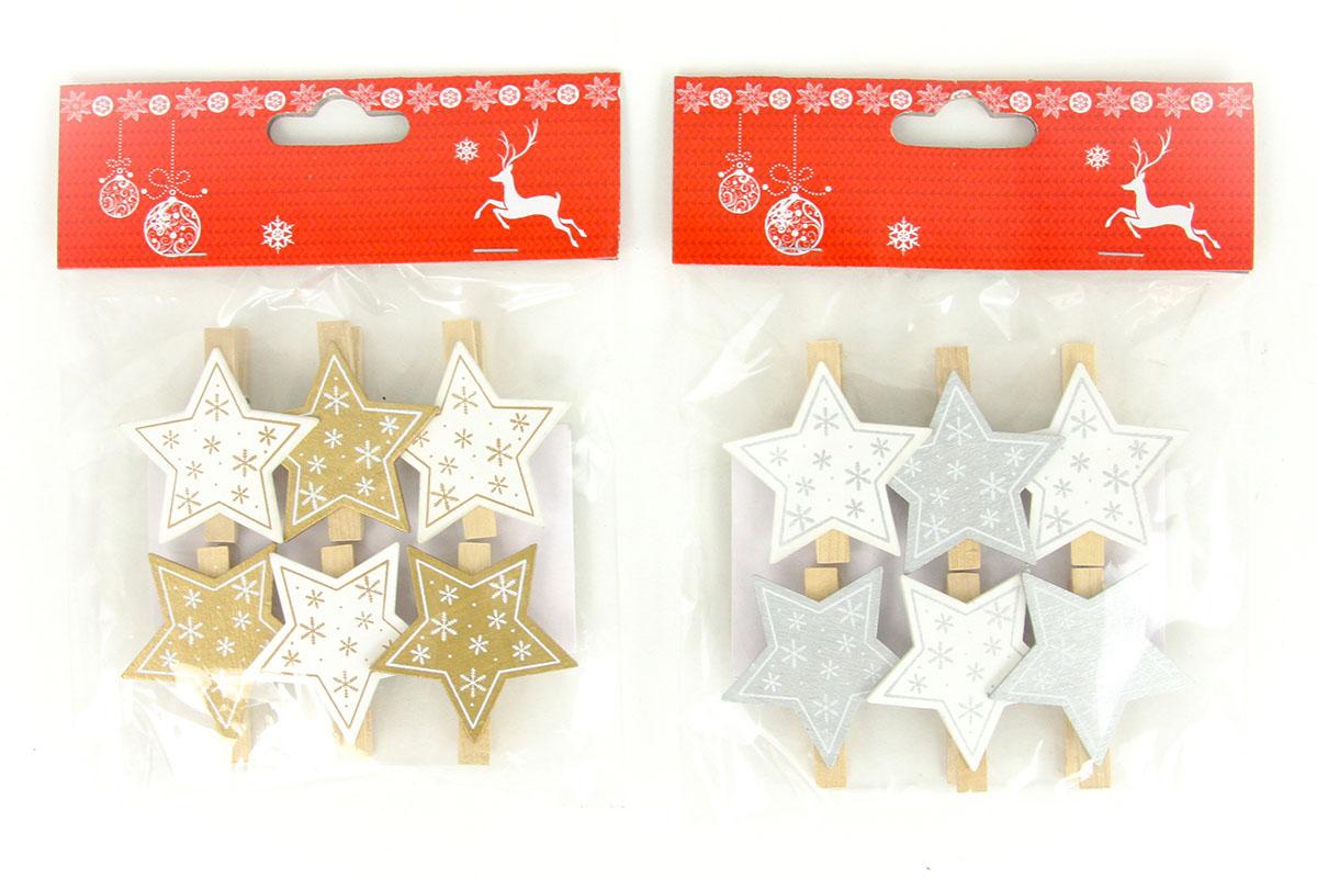 Hvězdička , vánoční dřevěná dekorace na kolíčku, 6 kusů v sáčku, cena za 1 sáček