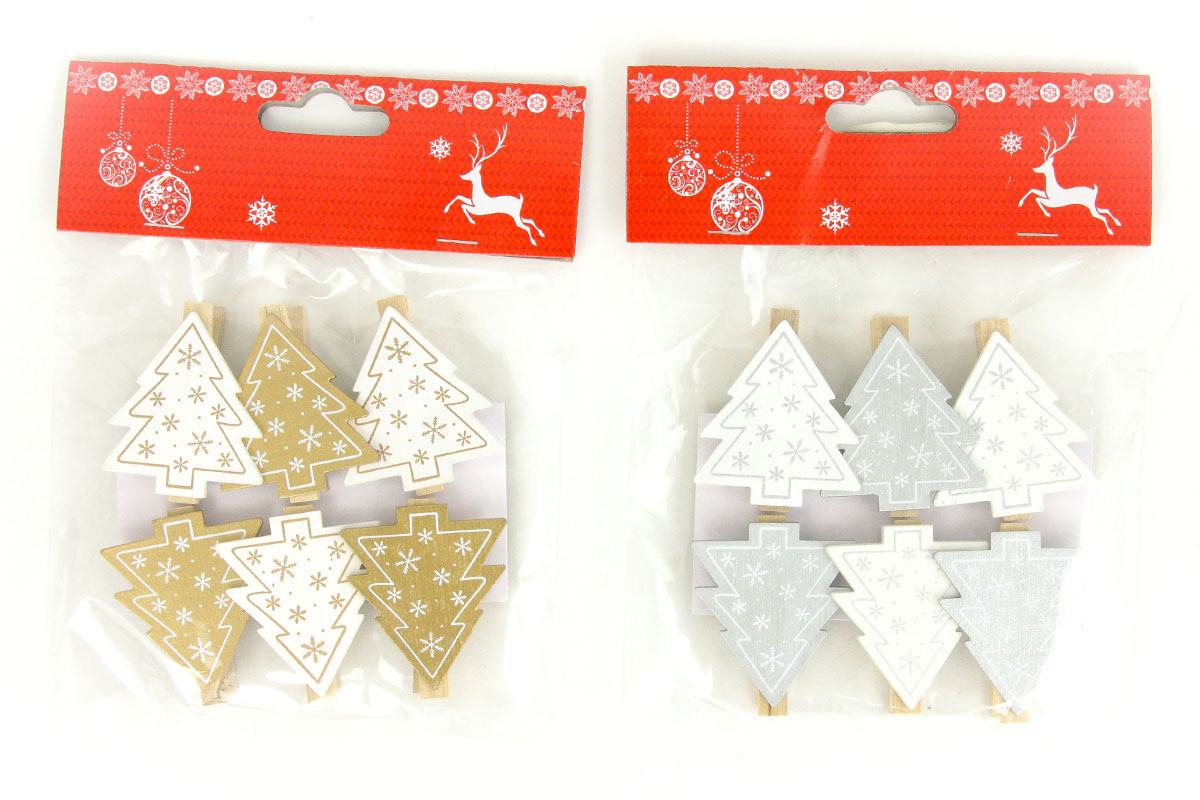 Stromeček , vánoční dřevěná dekorace na kolíčku, 6 kusů v sáčku, cena za 1 sáček