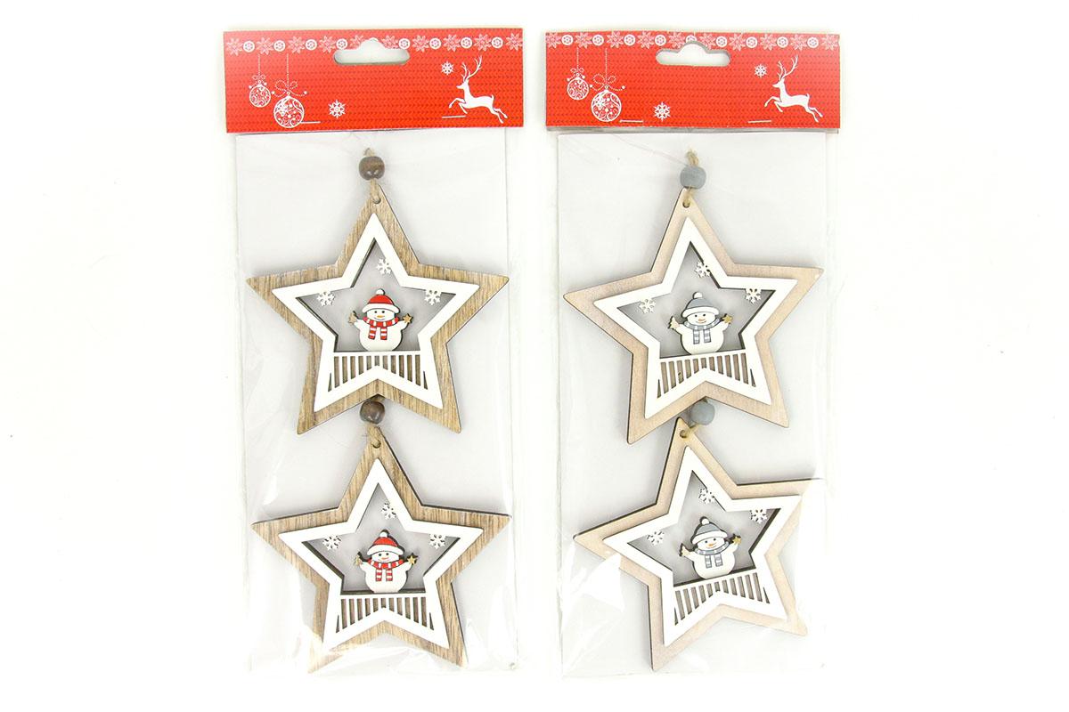 Hviezdička, drevená vianočná dekorácia na zavesenie, 2 kusy v sáčku, cena za 1 sáčok