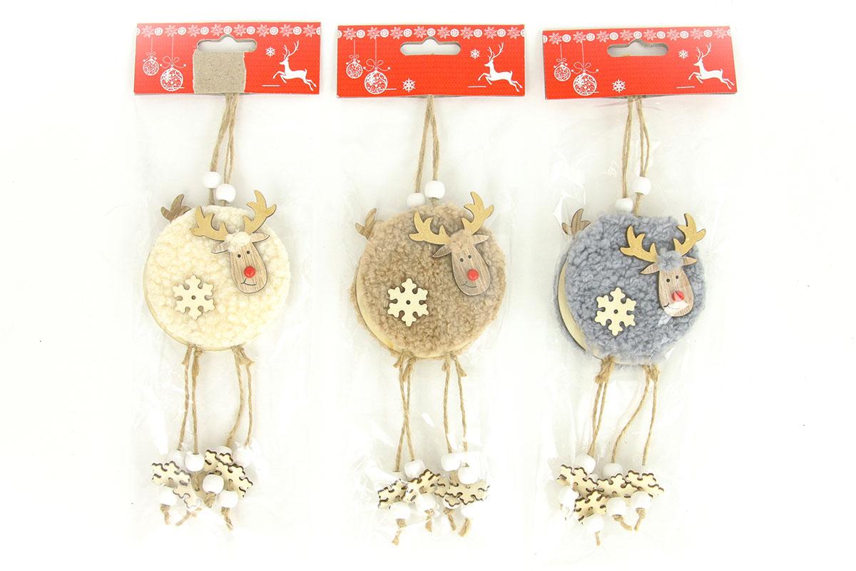 Sob, drevená vianočná dekorácia s plyšom na zavesenie, 2 kusy v sáčku, cena za 1 sáčok