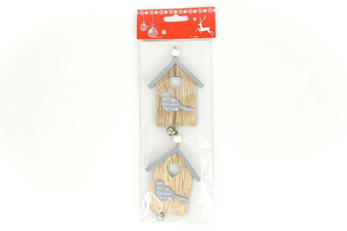 Budka,vánoční dekorace dřevěná s rolničkou na zavěšení, 2 kusy v sáčku, cena za 1 sáček