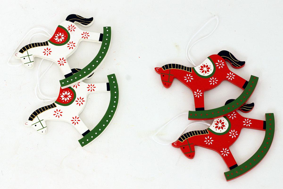 Koník, drevená vianočná dekorácia, 2 ks v sáčku, cena za 1 sáčok