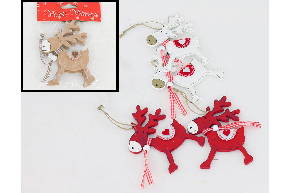 Sob, drevená vianočná dekorácia na zavesenie, 2 ks v sáčku, cena za 1 sáčok