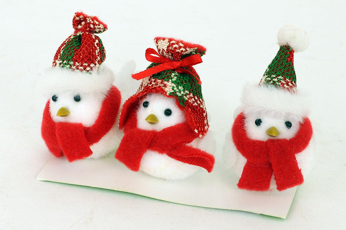 Vtáčik s čiapkou, textilná viančoná dekorácia
