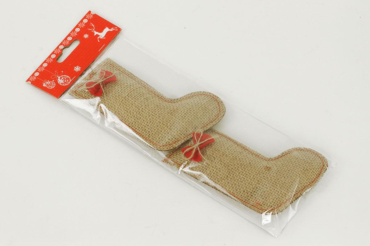 VIANOČNÁ DEKORÁCIA Z JUTY, tvar ponožky, cena za  jedno balenie