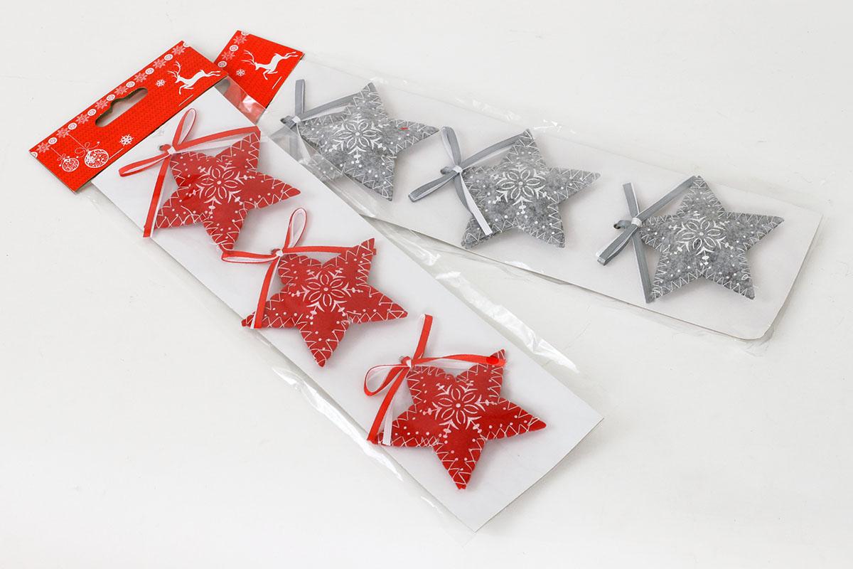 Vánoční  textilní dekorace , hvězdička,  červená, šedá, cena za  jedno balení