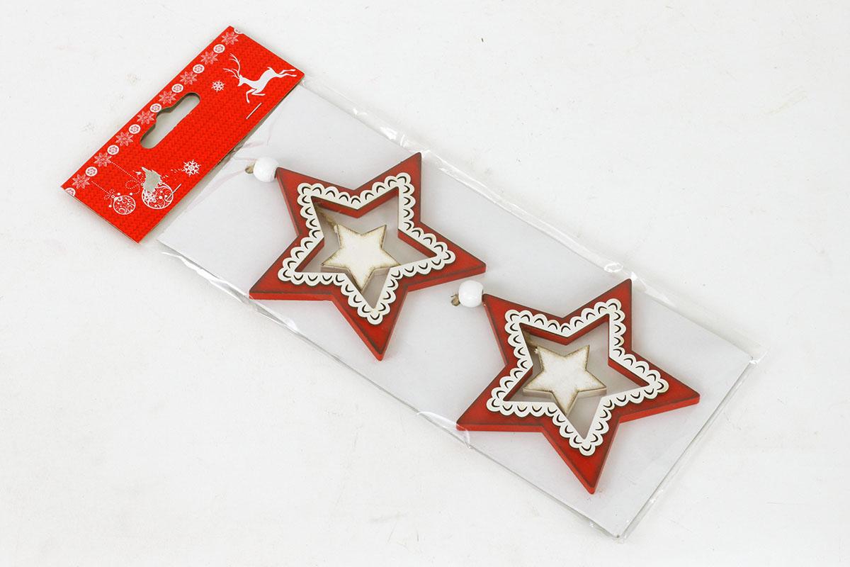 Vánoční dřevěná dekorace na zavěšení,  hvězdička  ,cena za jedno balení