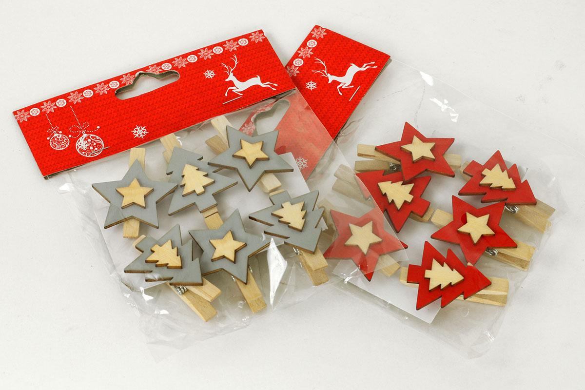 Vánoční dřevěná dekorace, stromeček a hvězdička na klipu, barva šedá a červená cena za jedno balení