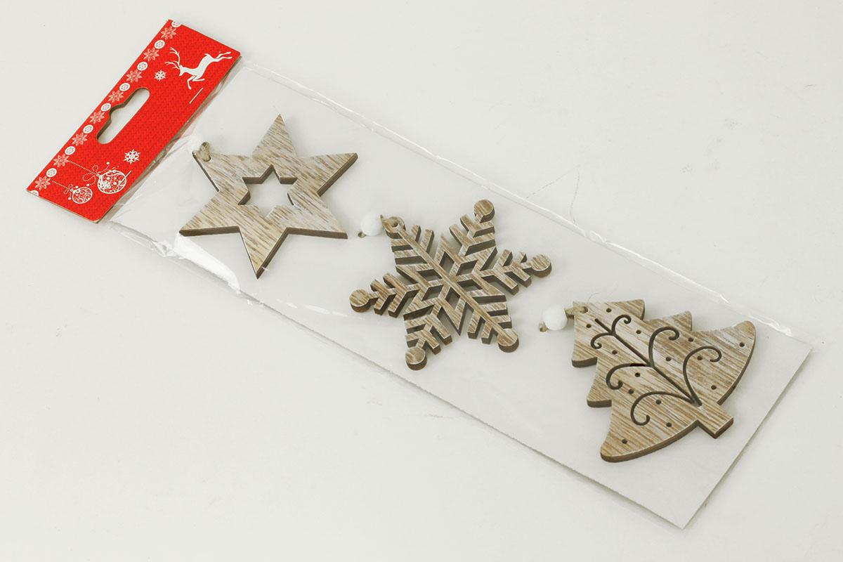 Vánoční dřevěná dekorace na zavěšení, vločka, hvězdička
