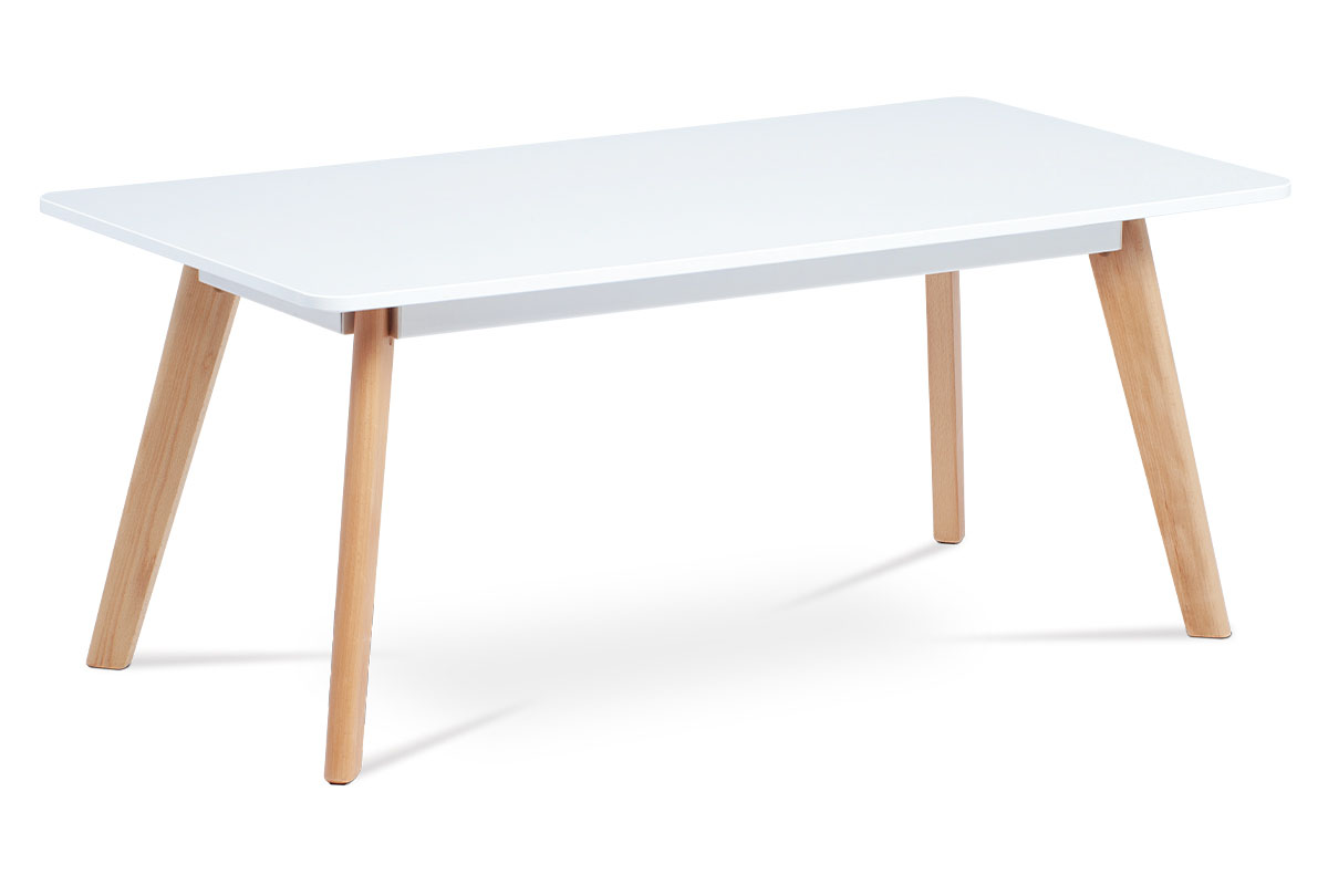 Coffee table matt white MDF / beech wood legs