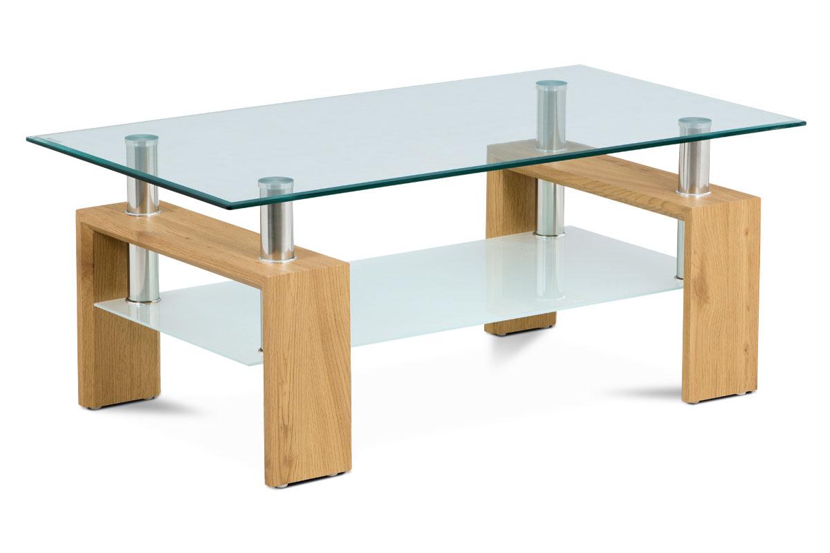 konf. stolík 110x60x45cm, dub, 8 mm sklo, polica mliečna-AF-1024 OAK