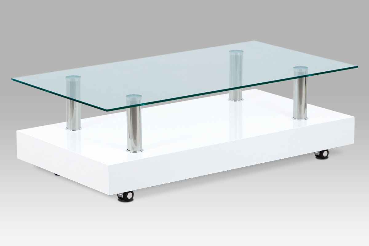 konferenčný stolík 110×60×35 biely vysoký lesk / sklo čiré