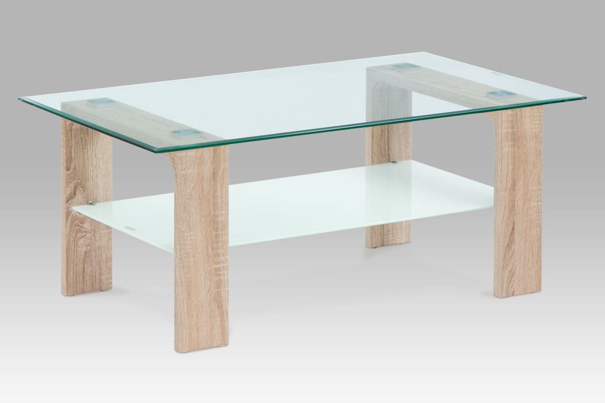 konferenčný stolík 100x65x45, 8mm sklo číre/mliečne, MDF sonoma fólia-AF-2037 SON