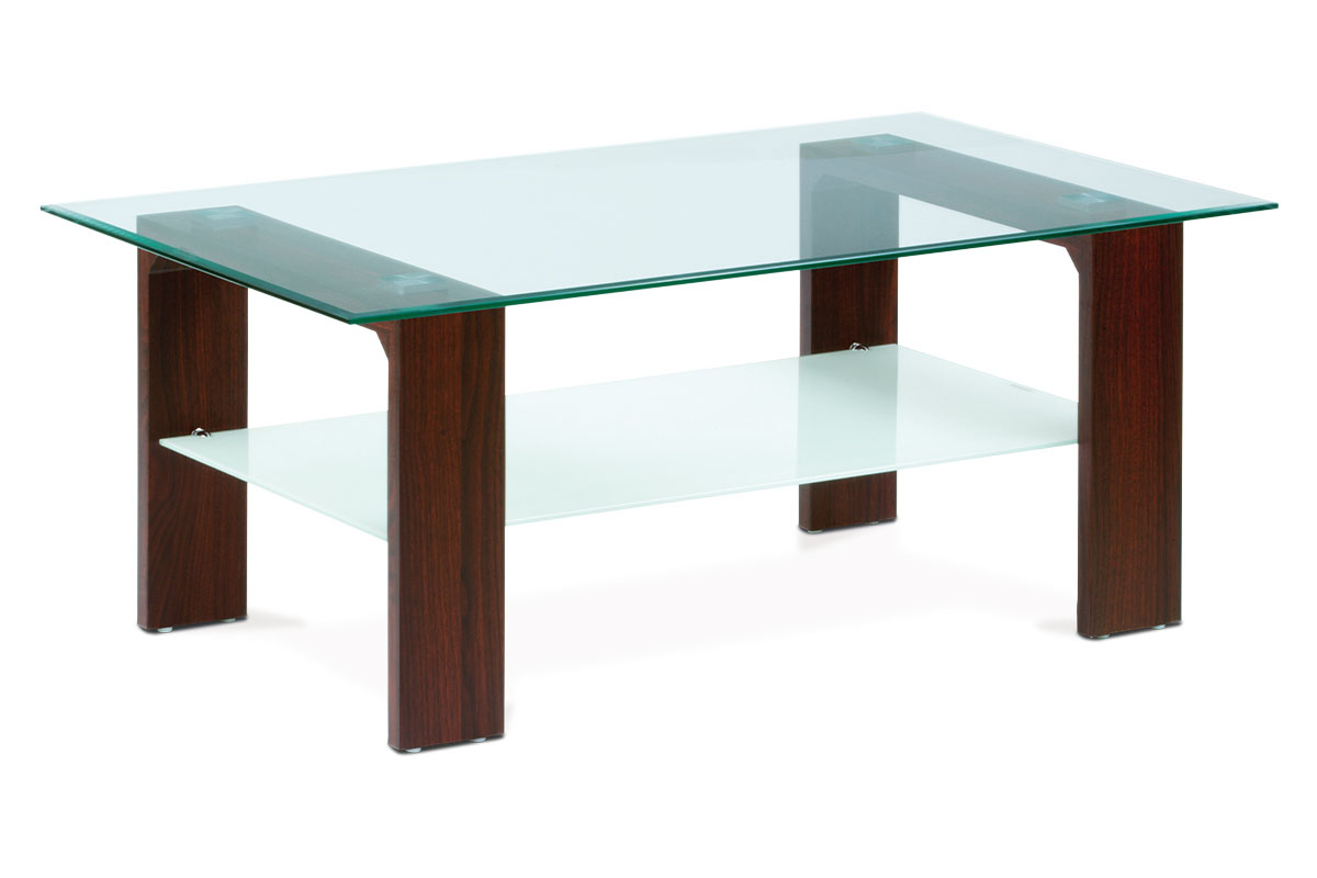 konferenčný stolík 100x65x45, 8mm sklo číre/mliečne, MDF orech fólia-AF-2037 WAL