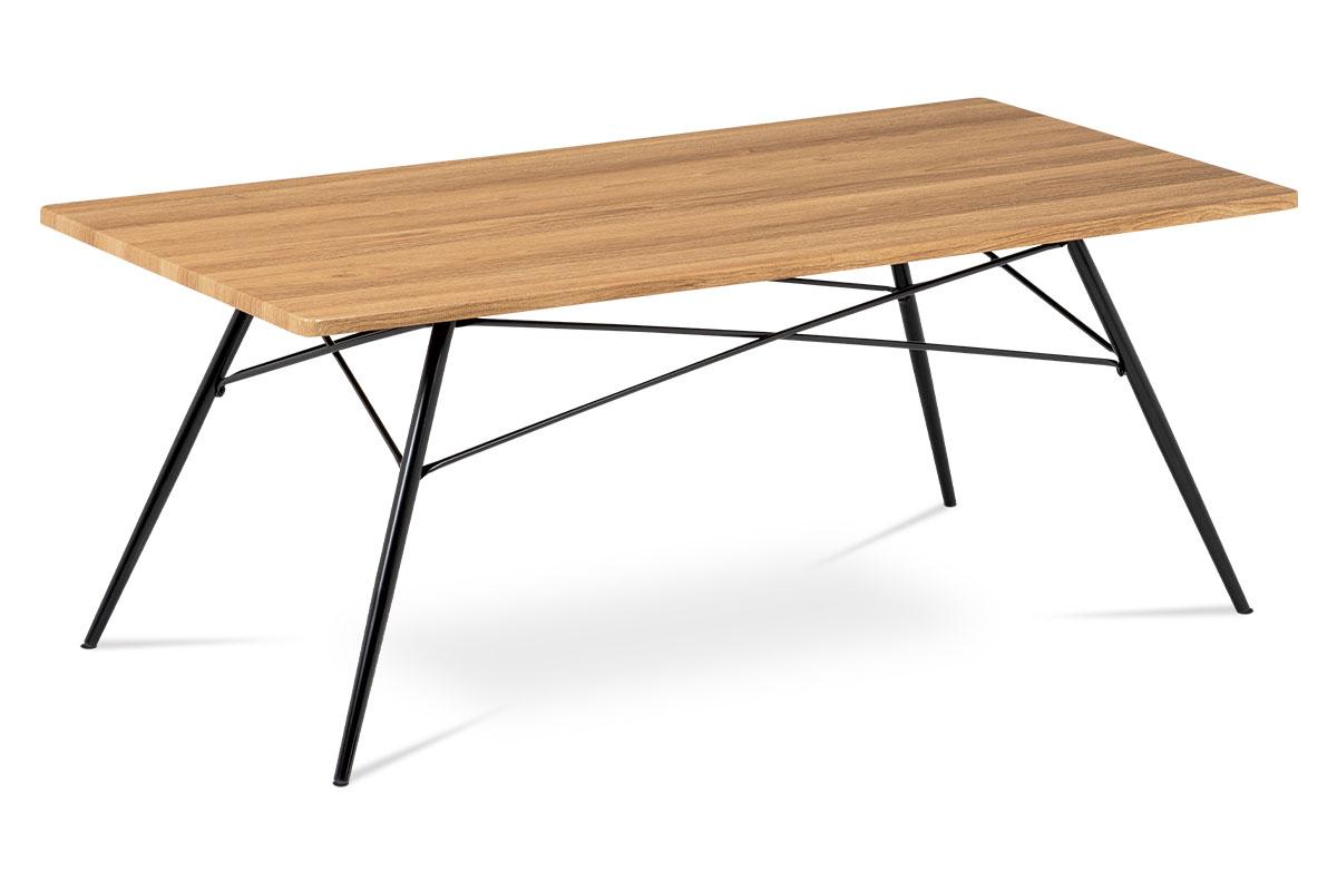 konferenčný stolík, MDF dub, kov čierny-AF-2070 OAK mat