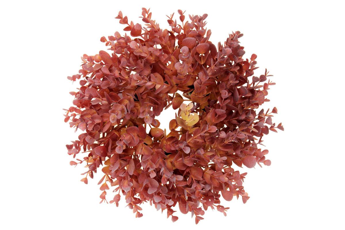 Věnec plastový v podzimní červené barvě.
