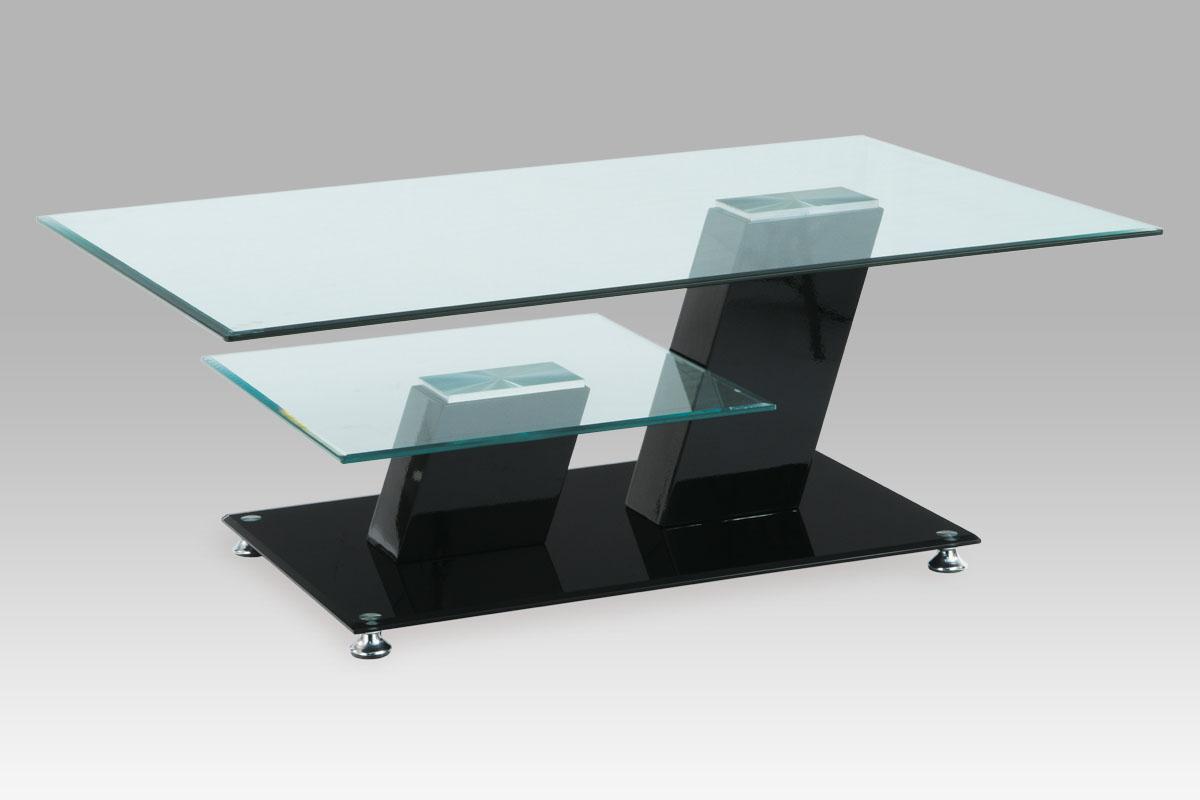 konferenčný stolík, sklo/vysoký lesk čierny