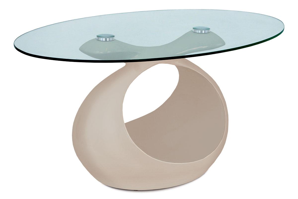 konferenčný stolík 90x55x44 cm, cappuccino vysoký lesk, číre sklo