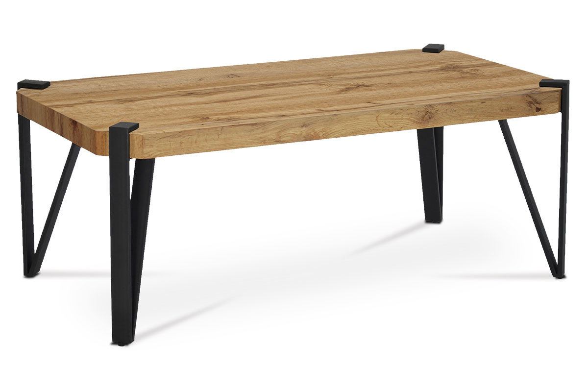 konferenčný stolík, 110x60x42 cm, doska MDF dekor dub, kov čierny mat