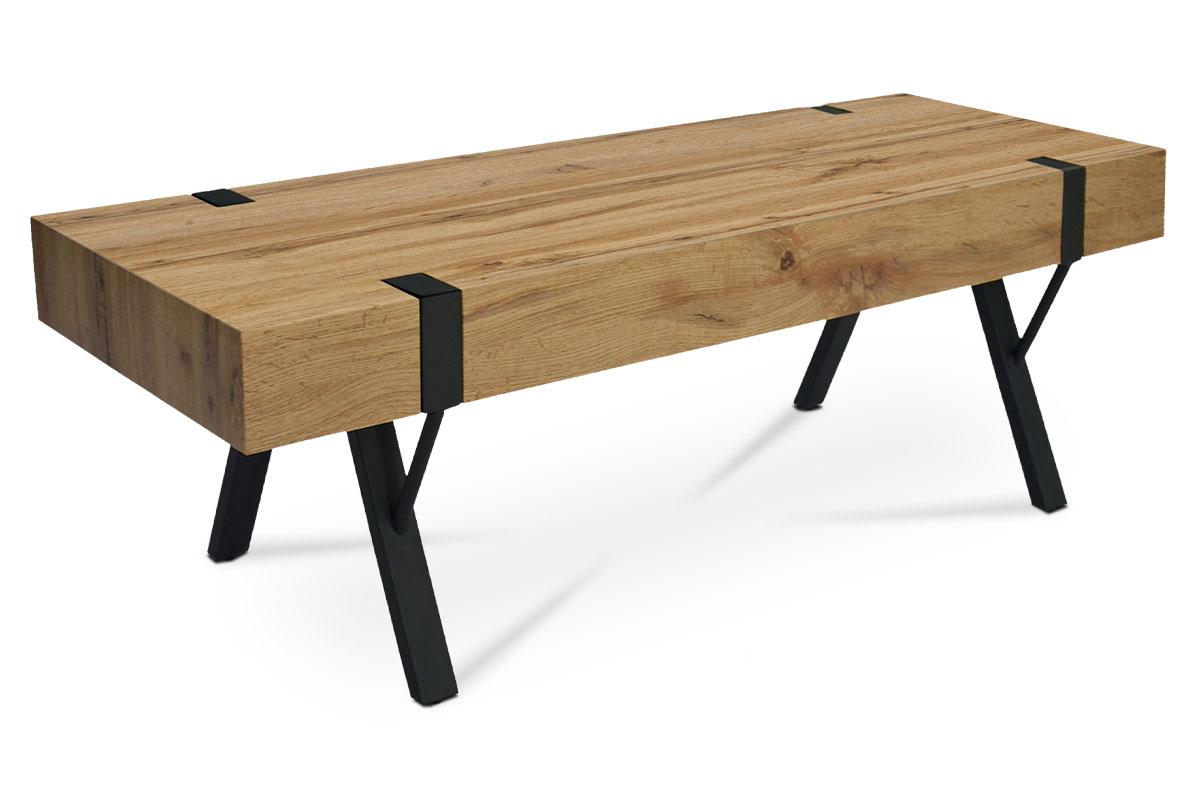 TV stolík, 120x40x40 cm, doska MDF dekor dub, kov čierny mat