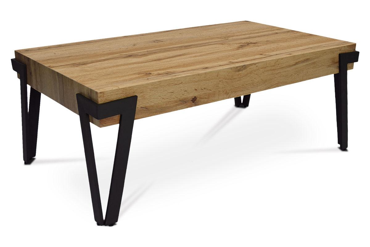 konferenčný stolík, 112x62x43 cm, doska MDF dekor dub, kov čierny mat