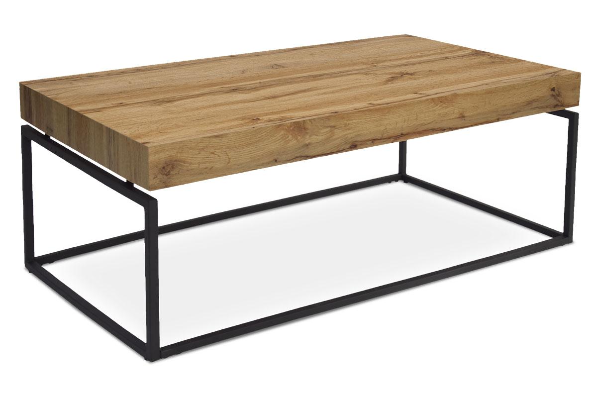 konferenčný stolík, 110x60x43 cm, doska MDF dekor dub, kov čierny mat