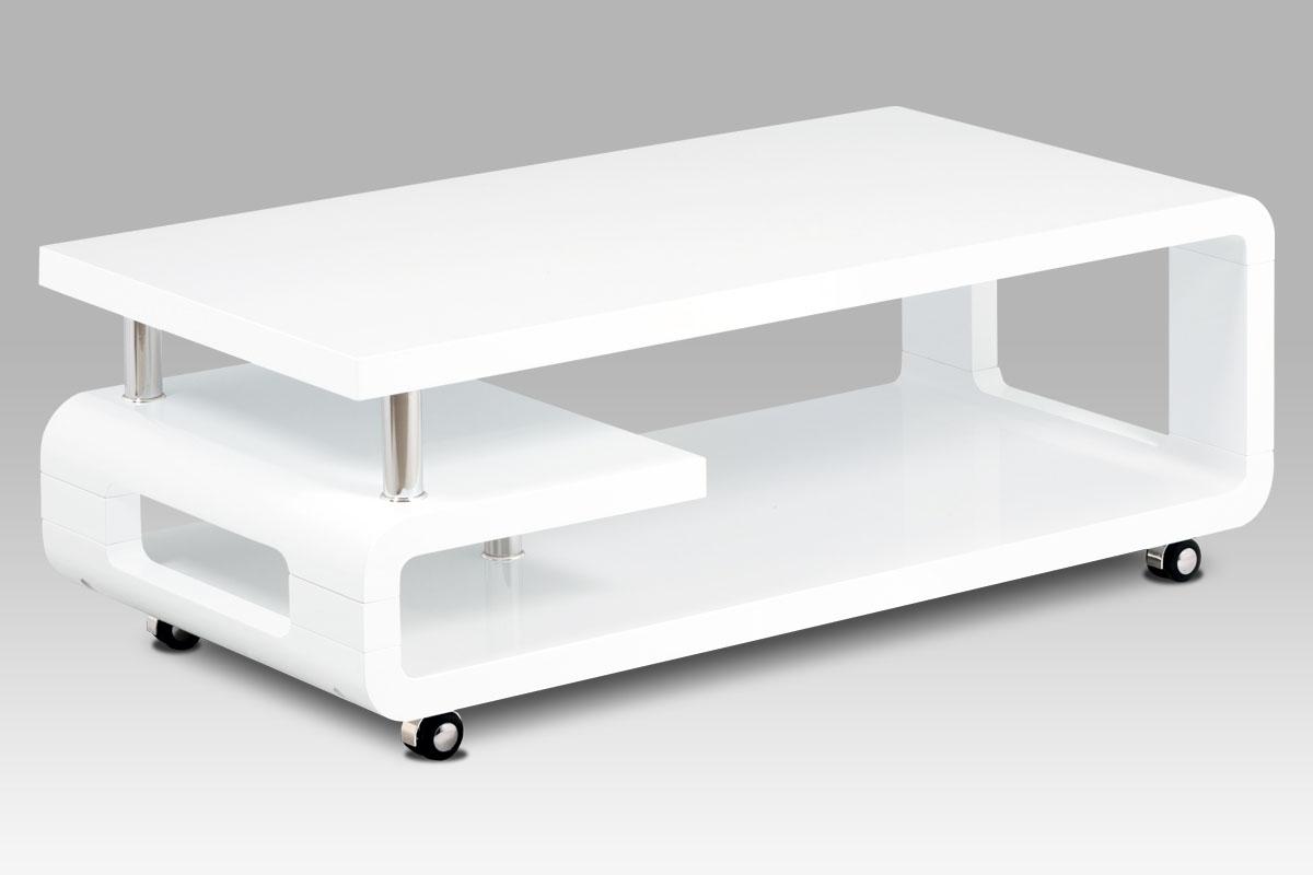 konfernčný stolík 115x60,biela MDF vysoký lesk,chróm,4 kolieska