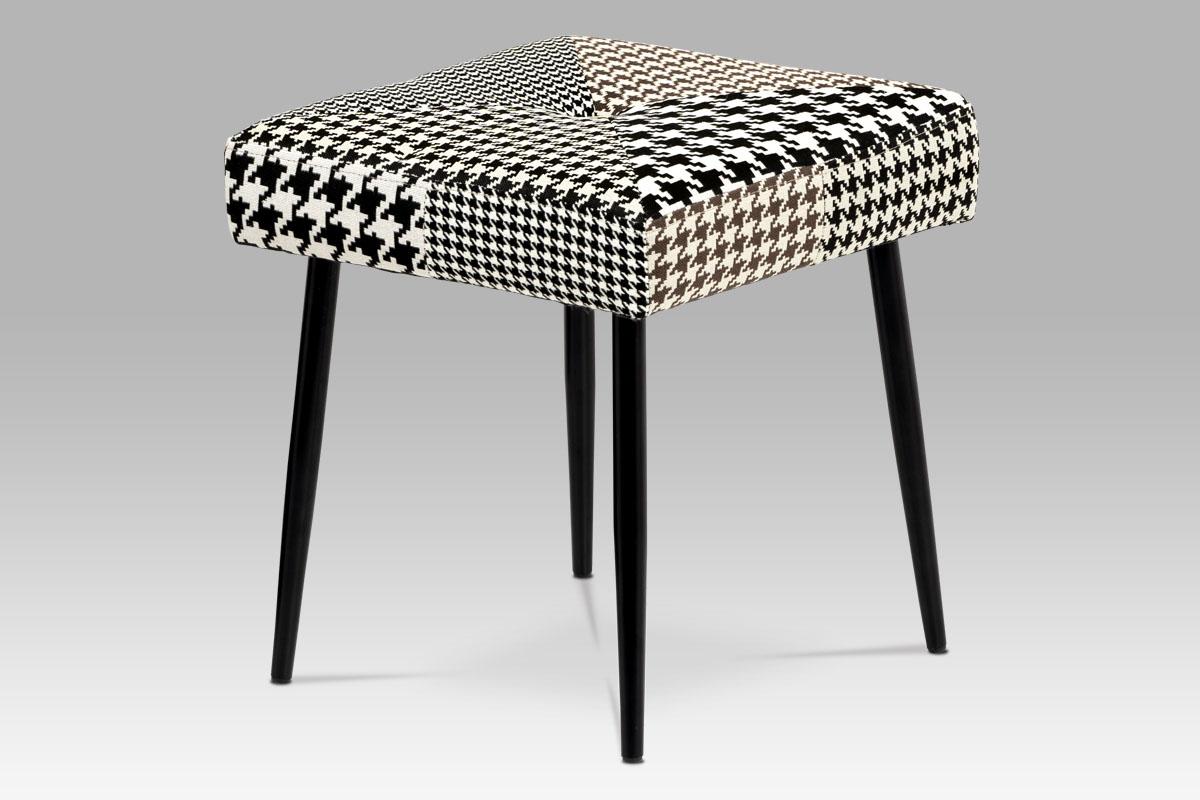 Stolička, látka čiernobiely patchwork, masiv kaučukovník čierny