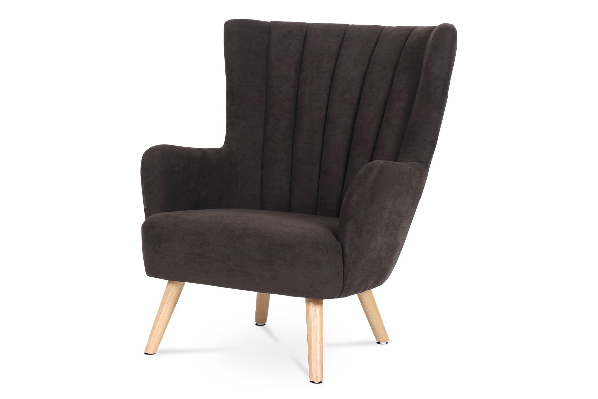 ARMCHAIR 263-27 BROWN FABRIC NATURAL LEGS