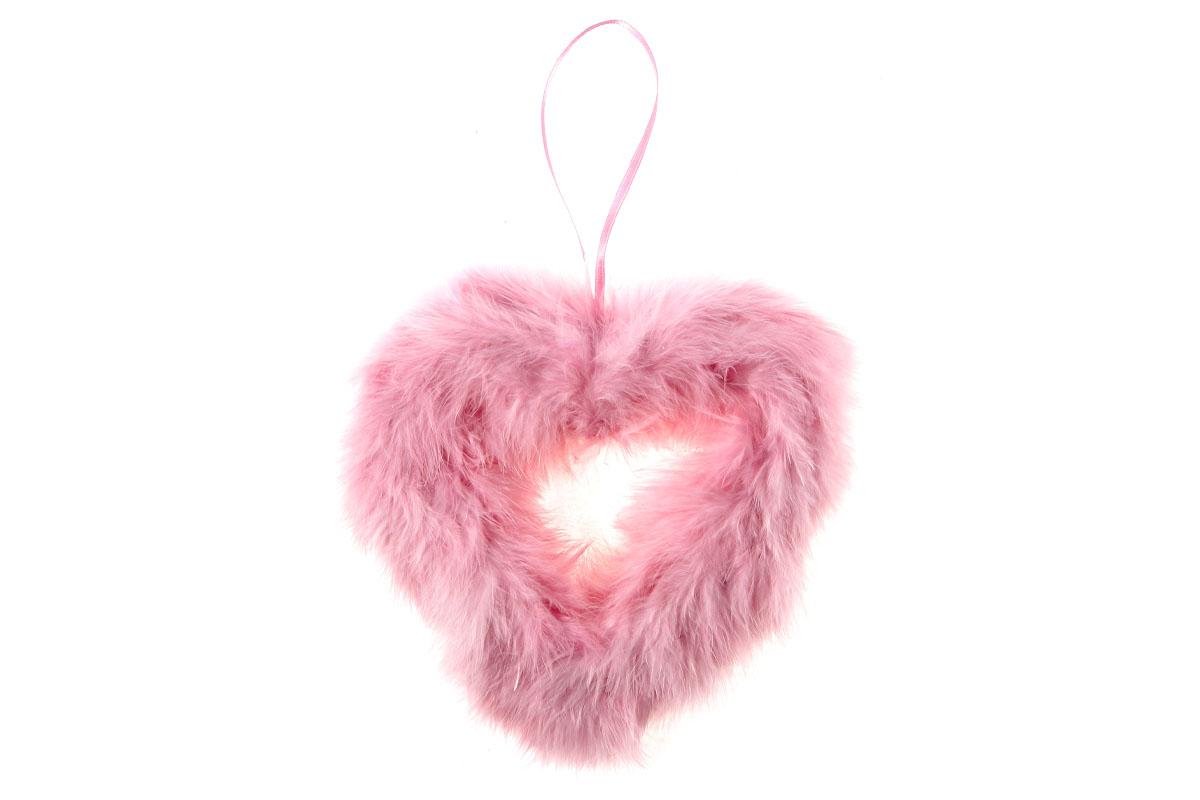 Srdce, dekorace z peří, barva růžová